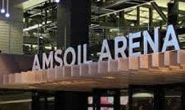 the signage of Amsoil Arena on its entrance